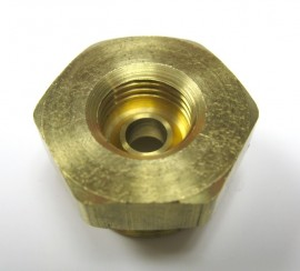 "Rochester Carburetor - Fuel Inlet Fitting - Brass 1"" Hex - 2G - 4G - Q-Jet"