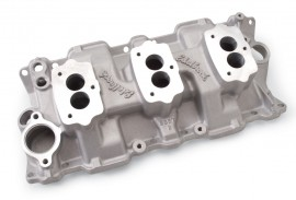 New - Our Clear Ceramic Coated EDELBROCK 5418 - 3-Deuce / 3-Bolt Carbs - Standard Heads