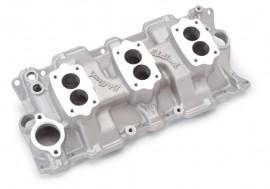 New EDELBROCK 5419 - C357B - 3-Deuce Intake Manifold - Standard Heads
