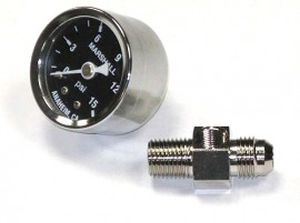 Fuel Pressure Gauge with Nickle Plated Log Inlet Fitting