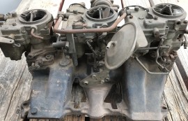SOLD - Complete 1958 Cadillac Tri-Power Intake - Carbs - Linkage