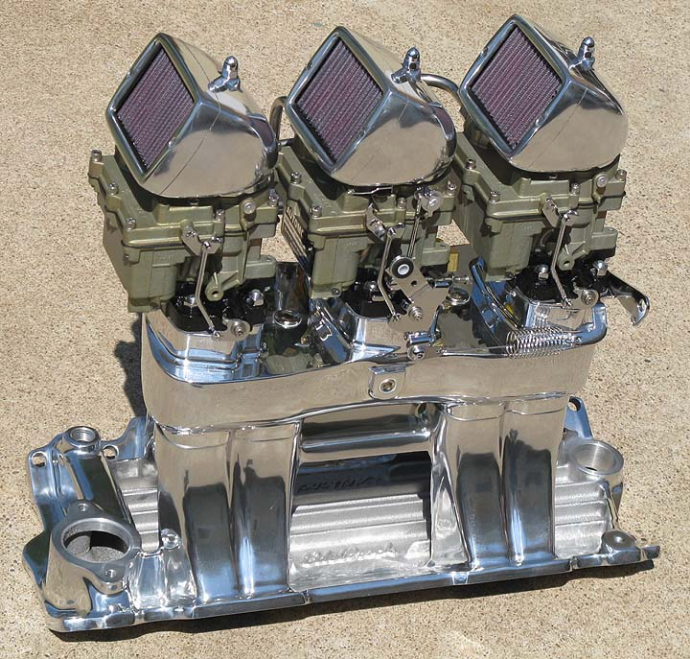 Our Complete Standard Finish SBC 3-Deuce 'WILD THING' Show Polished Intake included optional Replication Spark Arrestor Scoops