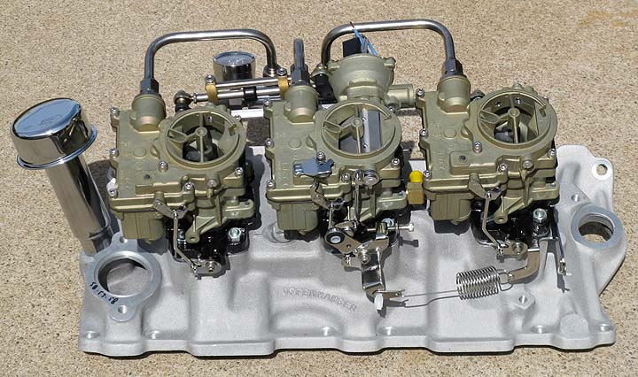 Our Complete Standard Finish SBC 3x2 System 'As Cast' Offy Intake optional electric choke