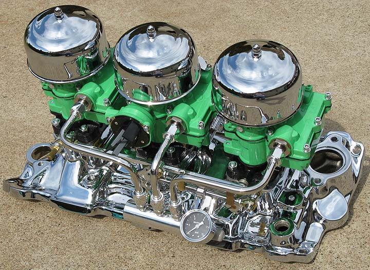 Optional Show Chrome SBC Intake Manifold with All the Options including Custom Painted Carbs (avail. w/wo oil tube & breather)