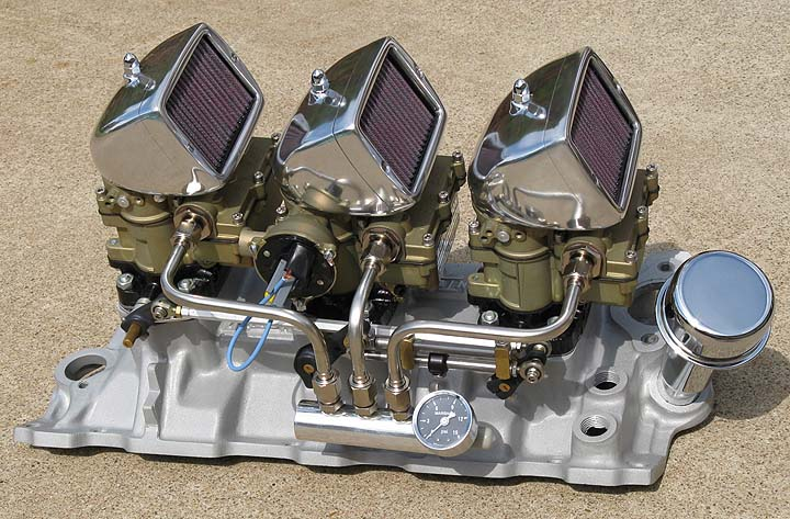 Our Complete Standard Finish SBC 3-Deuce System built on a customer supplied FENTON intake optional Spark Arrestor Scoops & electric choke
