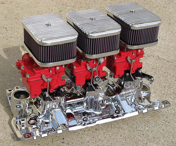 Optional Show Chrome SBC VORTEC Intake Manifold with ALL the Options including Custom Painted Carbs optional Rectangular Finned Top Air Filters