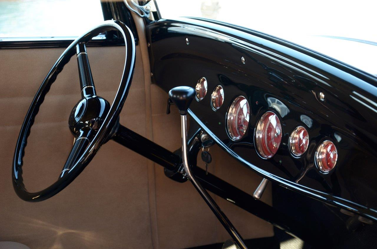 '32 Ford Dash<br/>Red Faced Gauges<br/>look good with the black & beige interior colors