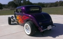 Rick Harris applied the Special mix PPG Horsepower TV Purple and Candy Fames with Lime Green Pin-stripping. There's is nothing like the ass end of a '32 Ford!!