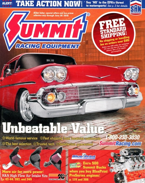 Summit Racing Equipt<br/>May-June 2016<br/>Dennis Spencer '58 Chevy