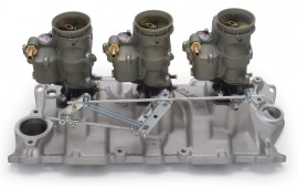 SOLD - NEW Edelbrock 94 Carbs - Small Block Chevy 3-Deuce Package